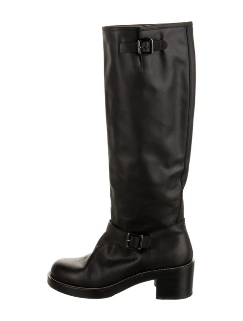 Balenciaga Leather Riding Boots Black