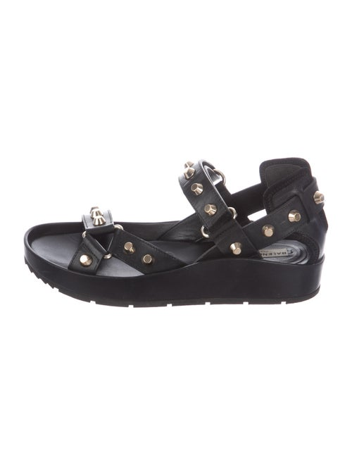 Balenciaga Leather Studded Accents Sandals Black