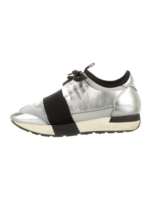 Balenciaga Leather Athletic Sneakers Silver