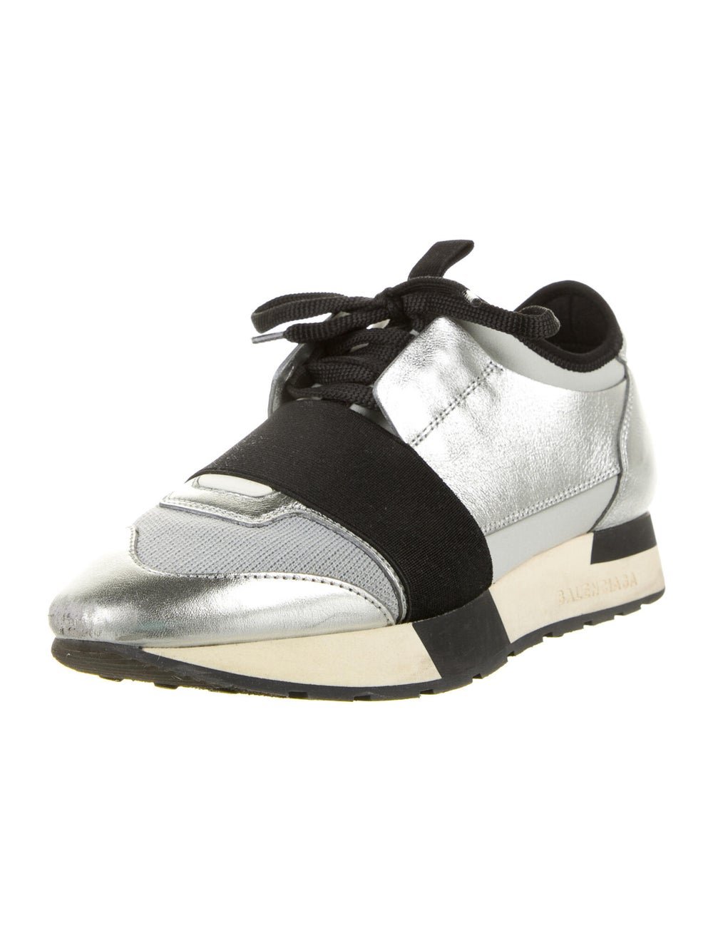 Balenciaga Leather Athletic Sneakers Silver - image 2