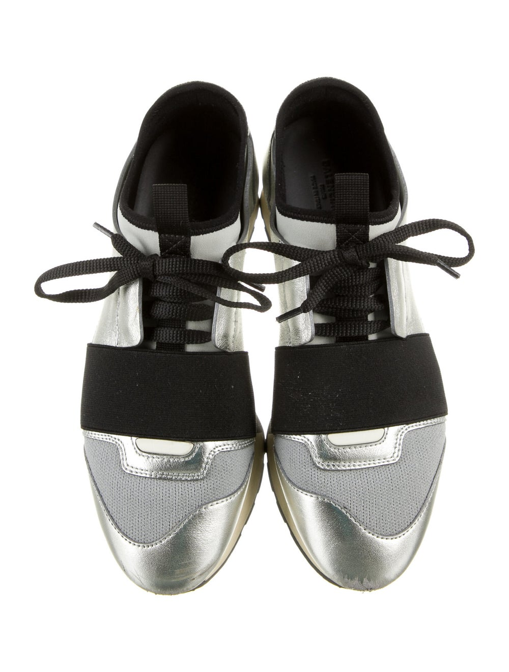 Balenciaga Leather Athletic Sneakers Silver - image 3