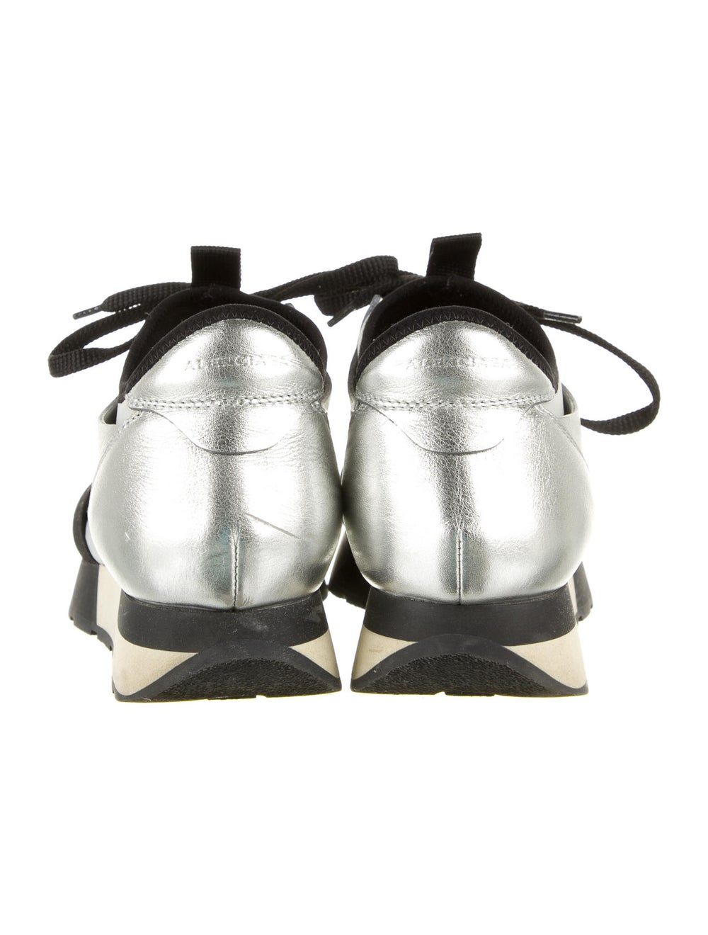 Balenciaga Leather Athletic Sneakers Silver - image 4