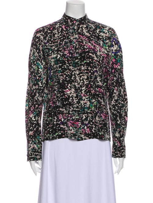 Balenciaga Silk Floral Print Blouse Black