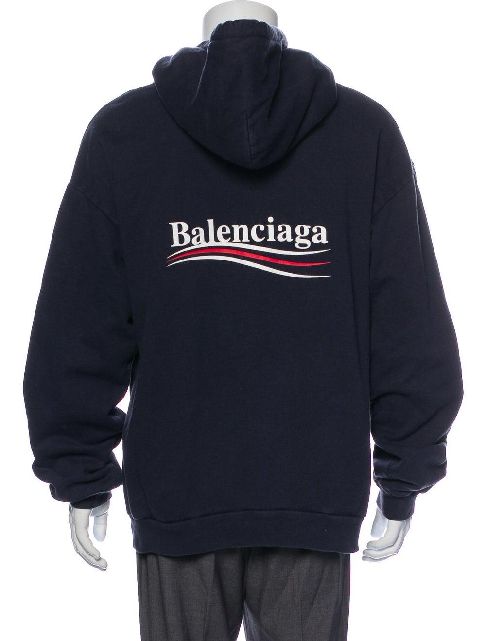 Balenciaga 2018 Graphic Print Hoodie Blue - image 3