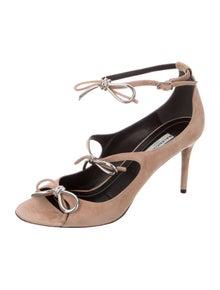 Balenciaga Suede Bow Accents Sandals