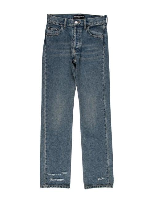 Balenciaga Mid-Rise Straight Leg Jeans Blue