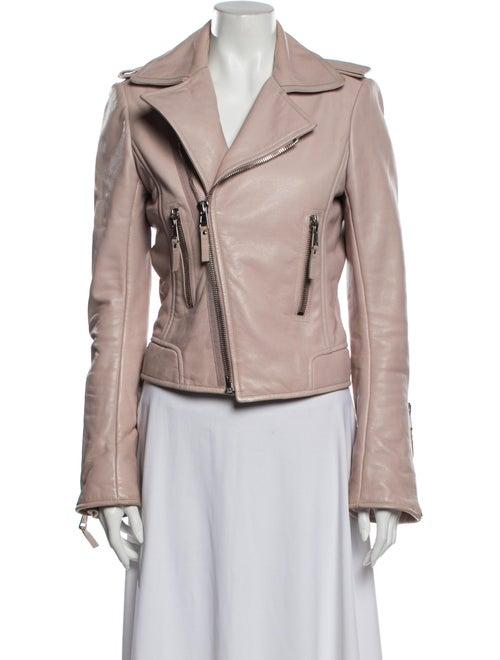 Balenciaga Leather Biker Jacket Pink