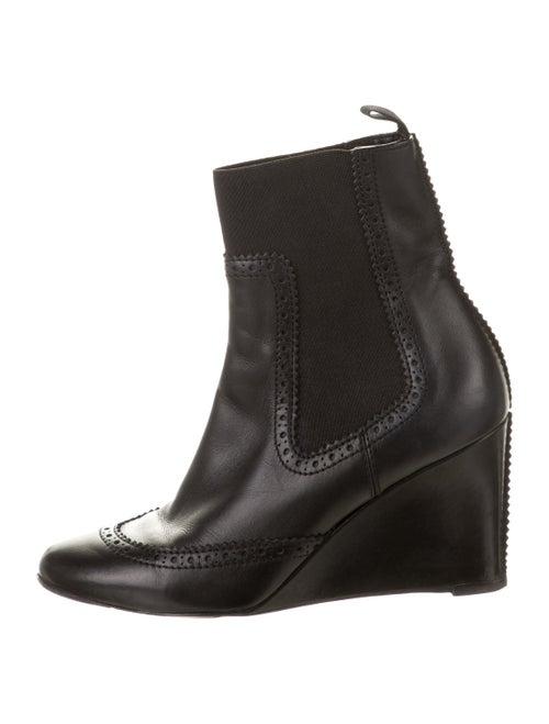 Balenciaga Leather Wedge Booties Black
