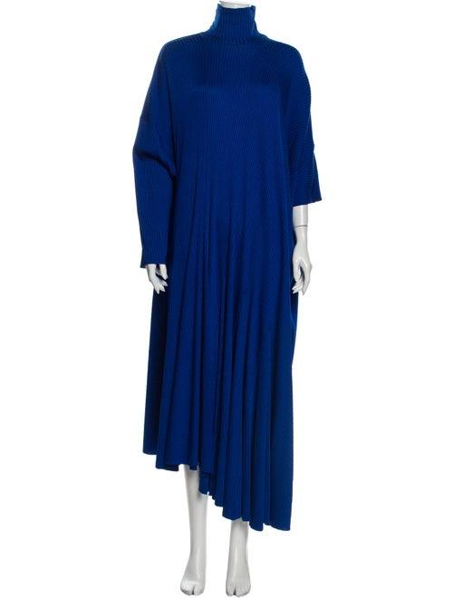 Balenciaga Turtleneck Long Dress Blue
