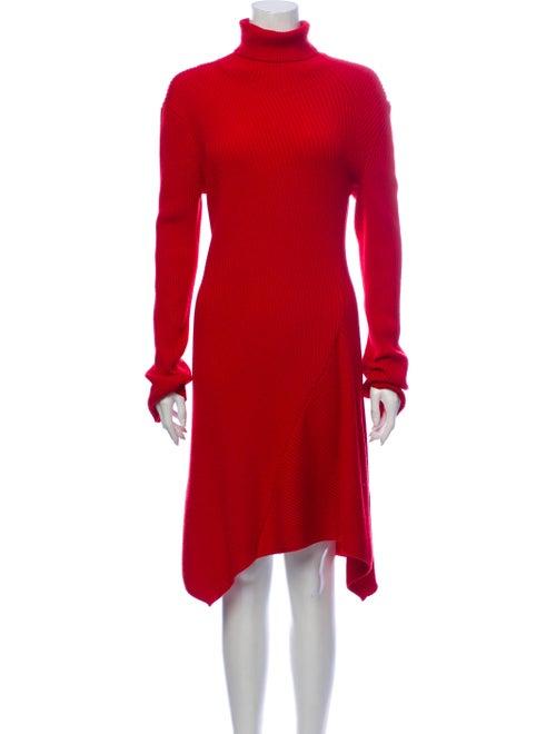 Balenciaga Turtleneck Knee-Length Dress Red