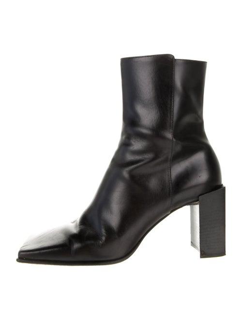 Balenciaga Moon Square Toe Leather Boots Black