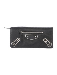 Balenciaga Metallic Edge Money Continental Leather Continental Wallet