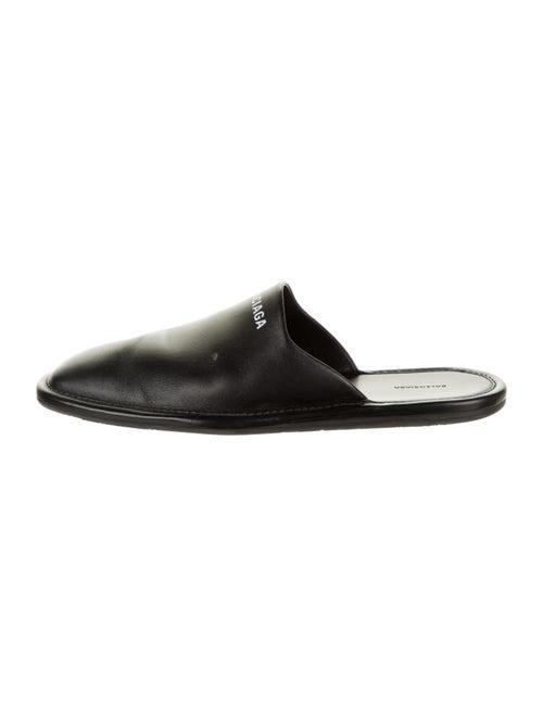 Balenciaga Carrera Leather Slippers Black