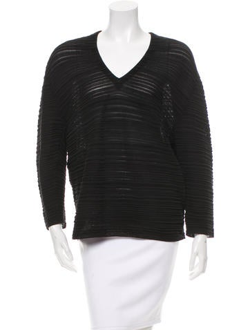Balenciaga Pleated V-Neck Top None
