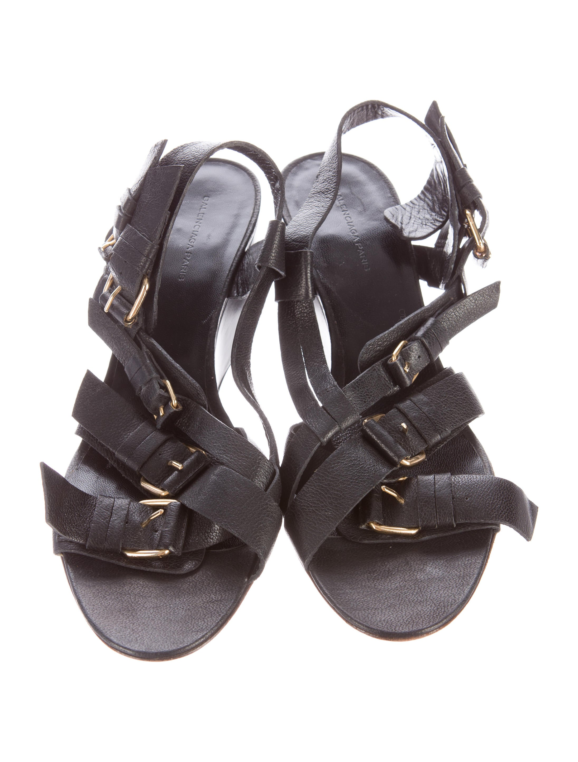 Balenciaga Multistrap Buckle Wedge Sandals Shoes  : BAL405623enlarged from www.therealreal.com size 2191 x 2890 jpeg 509kB