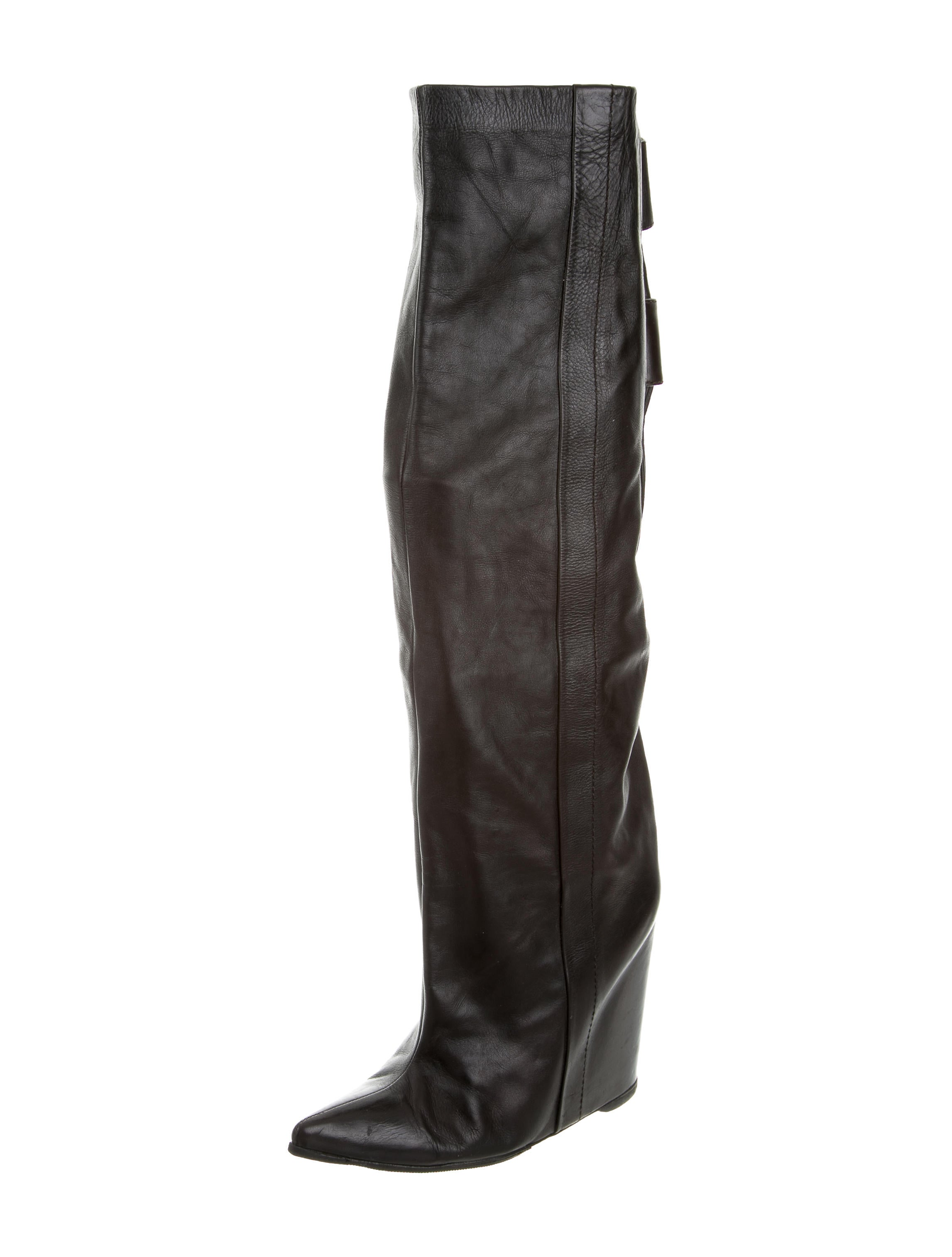 balenciaga leather pointed toe wedge boots shoes