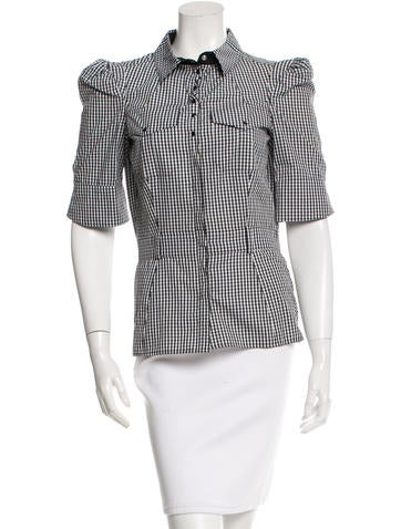 Balenciaga Gingham Button-Up Top None