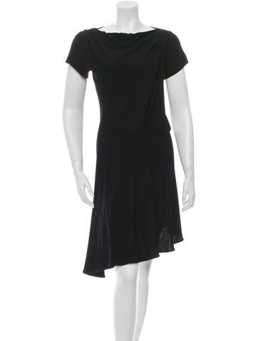 Balenciaga Asymmetrical Short Sleeve Dress None