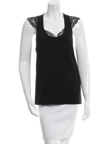 Balenciaga Lace-Trim Sleeveless Top None