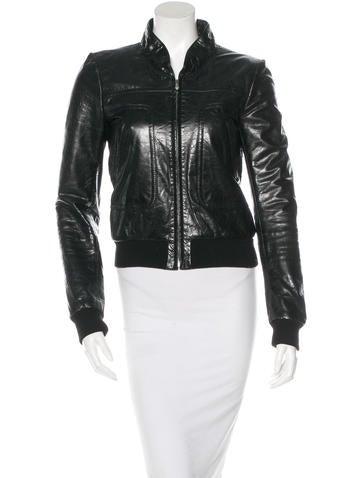 Balenciaga Leather Zip-Up Jacket None