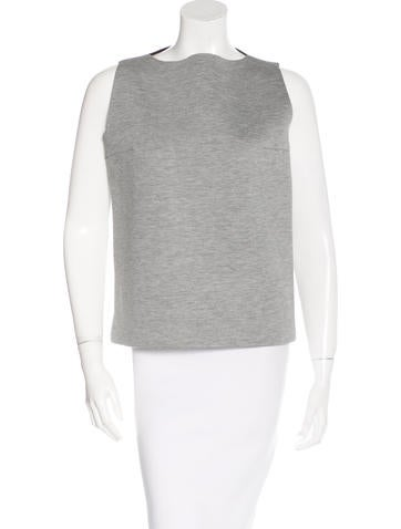 Balenciaga Sleeveless Bateau Neck Top None