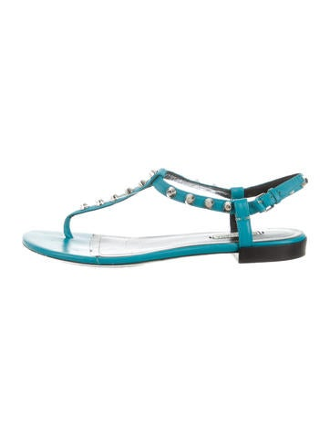 Balenciaga Stud-Embellished T-Strap Sandals