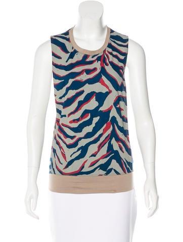 Balenciaga Tiger Print Sleeveless Top None