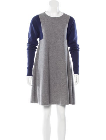 Balenciaga Colorblock Wool Dress None