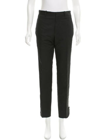Balenciaga Leather-Trimmed Straight-Leg Pants