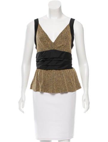 Balenciaga V-Neck Tweed Top None
