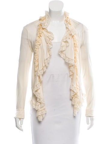 Balenciaga Lace-Trimmed Silk Cardigan None