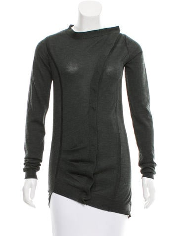 Balenciaga Asymmetrical Wool Cardigan None
