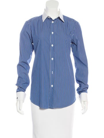 Balenciaga Striped Button-Up Top None