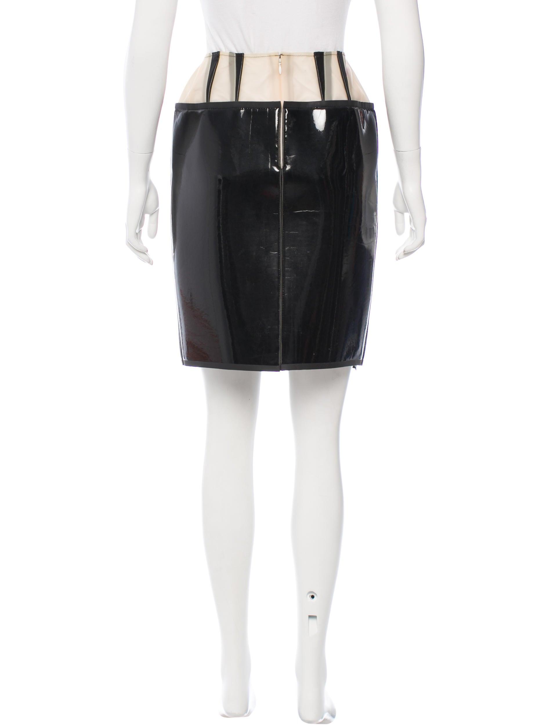 Balenciaga Leather-Trimmed Knee-Length Skirt