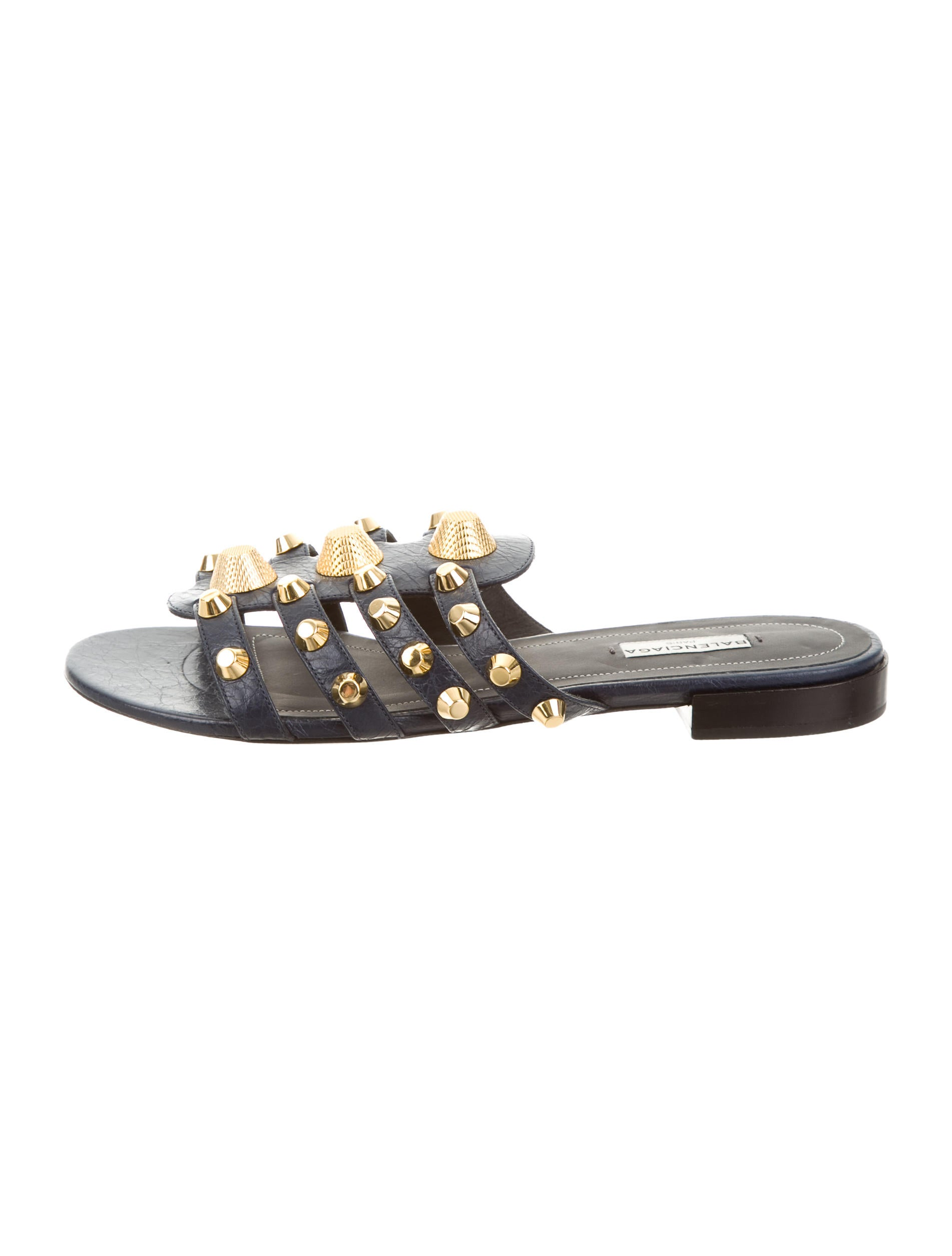 Contemporary Flatware Balenciaga Studded Leather Sandals Shoes Bal46828