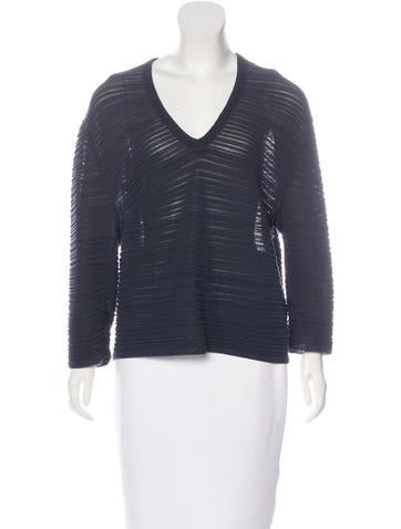 Balenciaga Ribbed V-Neck Top None