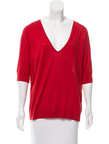 Balenciaga V-Neck Silk Sweater None