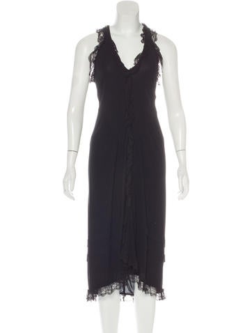Balenciaga Lace-Trimmed Sleeveless Dress None