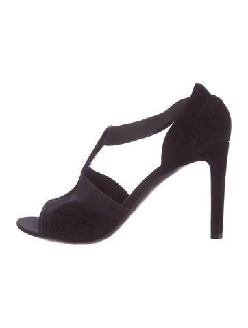 Balenciaga Suede T-Strap Sandals None