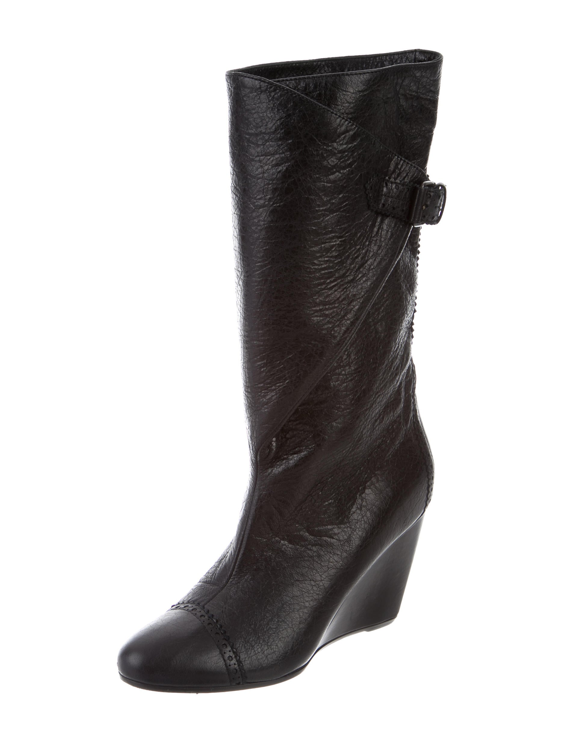 balenciaga leather wedge boots shoes bal48608 the