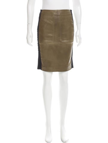 Balenciaga Leather Pencil Skirt None