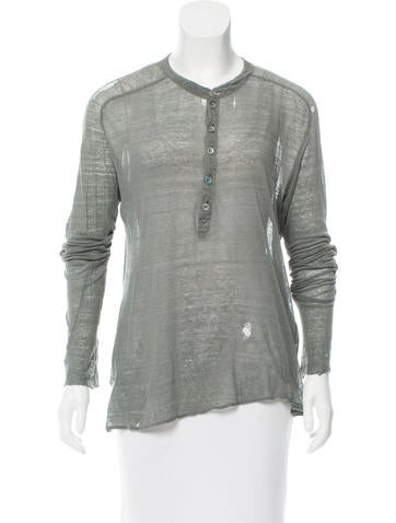 Balenciaga Distressed Button-Up Top None