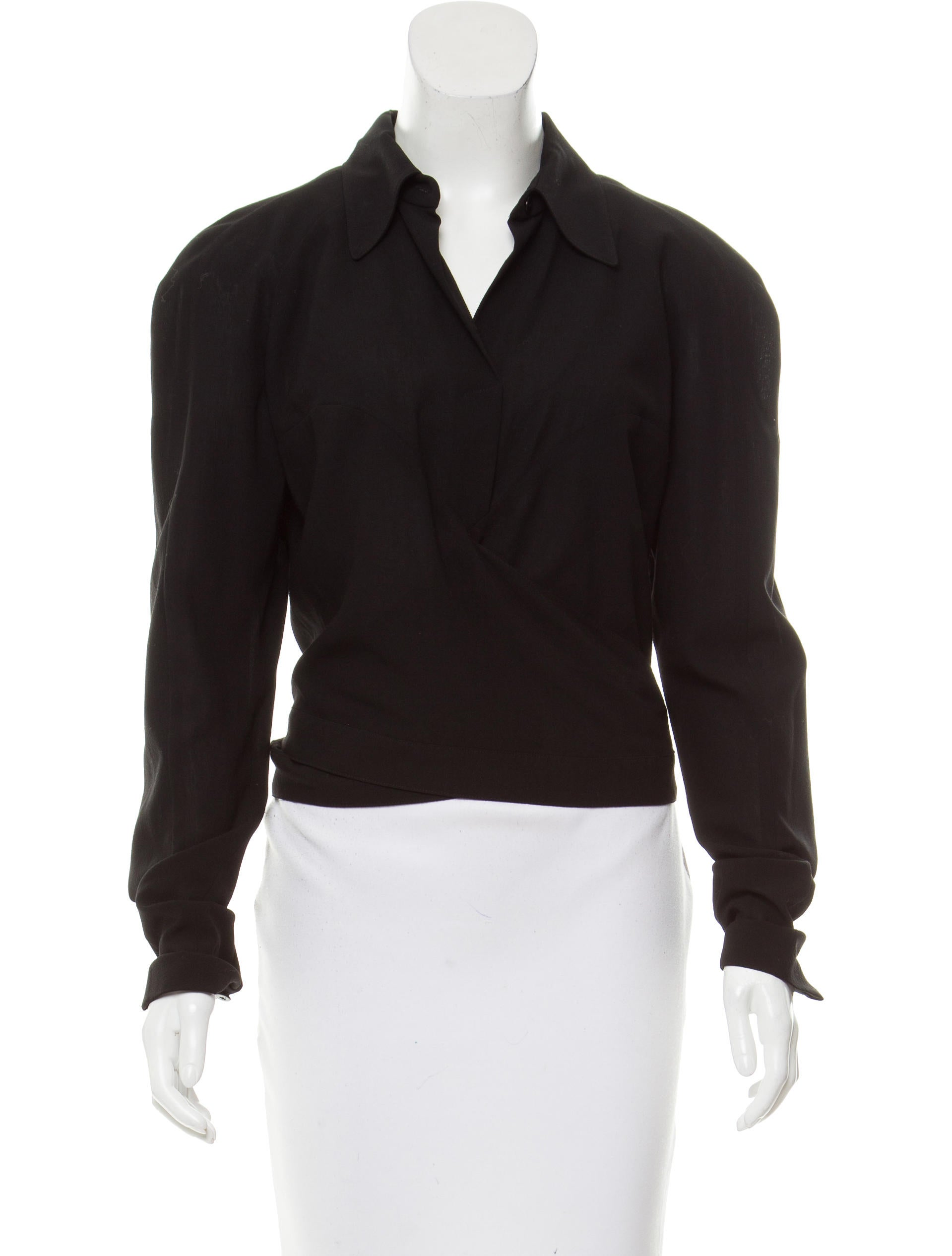 Balenciaga wool wrap top clothing bal49682 the realreal for Best wool shirt jackets