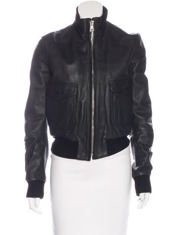 Balenciaga Leather Bomber Jacket None