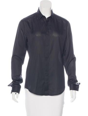 Balenciaga Piqué Button-Up Top None