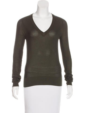 Balenciaga Silk V-Neck Sweater None