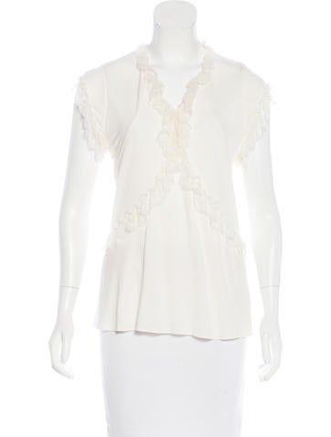 Balenciaga Lace-Trimmed Sleeveless Top None