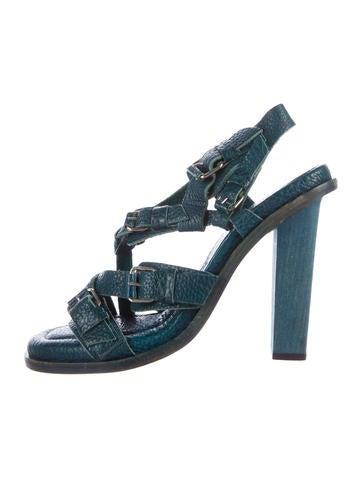 Balenciaga Cross-Strap Leather Sandals None