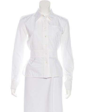 Balenciaga Tie-Accented Button-Up Top None