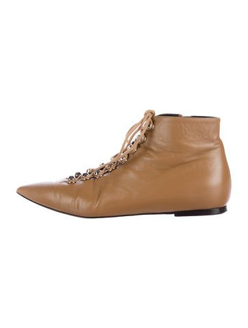 Balenciaga Leather Lace-Up Booties None